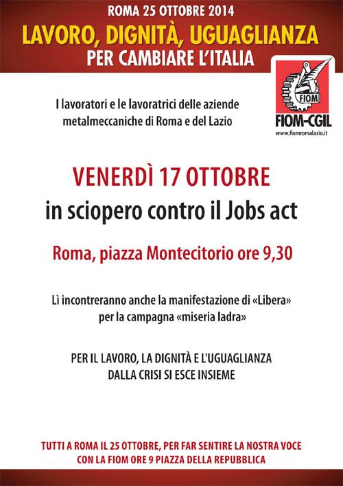 SCIOPERO FIOM Roma Lazio 17 ottobre 2014